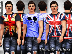 Sims 4 —  Grunge t-shirts by Pinkzombiecupcakes — New grunge style t-shirts,3 versions,3 swatches for male. I hope you