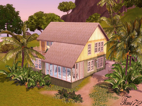 Sims 3 — Sunny Beach Hut by timi722 — Sunny coloured and cheerful beach house with palm trees. Perfect and comfortable