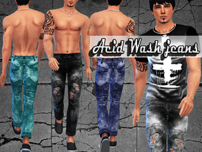 Sims 4 — Acid Wash Jeans by Pinkzombiecupcakes — New jeans for male sims ,enjoy! Standalone creation, in CAS at cropped