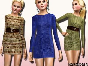 Sims 3 — TEEN~Girls Cable Knit Dress Long Sleeve by Harmonia — 4 Variations. Recolorable Please do not use my prepared