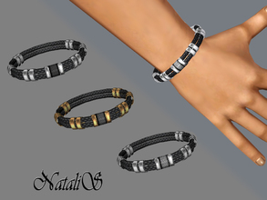 Sims 3 — NataliS_Braided leather and metal bracelet YM-AM by Natalis — Boldly accessorize any outfit with this handsome
