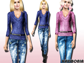 Sims 3 — V Neck Sweater / Sandblasted Jeans by Harmonia — V Neck Sweater with belted and Sandblasted Skinny Jeans 3