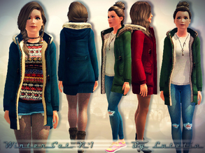 Sims 3 — Winter Set No 1 - Coat - Teen by Lutetia — A hooded parka with a knitted pullover ~ Works for female teens ~