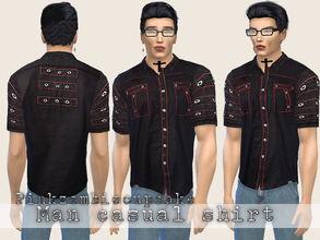 Sims 4 — Man casual shirt by Pinkzombiecupcakes — One modern shirt black and red,the perfect gift for your male sims.