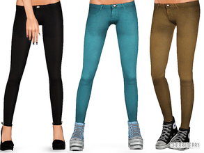 Sims 3 — Teen Trousers by CherryBerrySim — Everyday wear detailed trousers with army style metal button for teen girls!