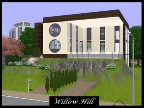 Sims 3 — Willow Hill - no CC!  by Schokobrownie952 — A modern house build on an artificial hill. It has 2 bedrooms an