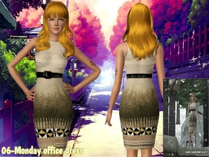 Sims 3 — 06-Monday office dress  by Daweesims — Beautiful converted creme office dress with geometric pattern for you and