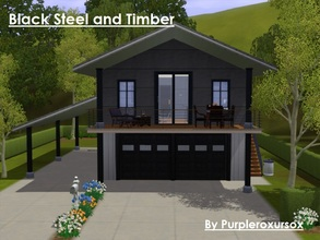 Sims 3 — Black Steel and Timber by purpleroxursox2 — This is a modern, urban style home with 2 bedrooms, living area,