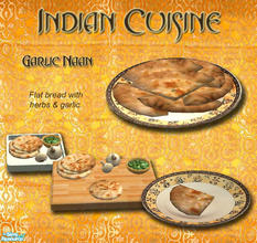 Sims 2 — Indian Cuisine - Garlic Naan by Simaddict99 — Indian style flat bread with garlic and herbs. Found under it\'s