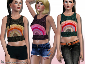Sims 3 — Rainbow Wool Crop Top by Harmonia — 3 colors. Please do not use my textures! Please do not re-upload.