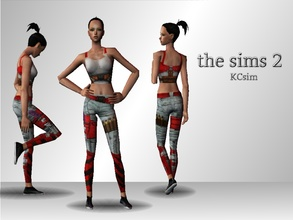 "Sims 2 — Comic Blade Top & Leggings by KCsim — ""Never mess with a girl carrying a knife.\"" -Poprageous"