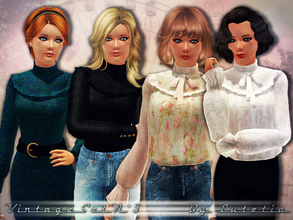 Sims 3 — Vintage Set No 5 by Lutetia — This set contains a vintage inspired blouse and pullover ~ Works for female teens