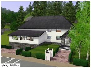 Sims 3 — Grey Willow by Schokobrownie952 — A modern family house with an underground garage. On the swimming pool parents