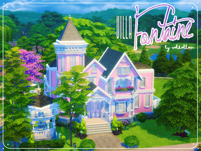 Sims 4 — Villa Fontaine by Valhallan by valhallan — A big antique art nouveau inspired vintage home for all your pink