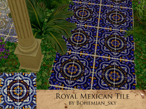 Sims 3 — Royal Mexican Tile by Bohemian_sky — Large hand painted Mexican tile pattern with 4 recolourable channels. by