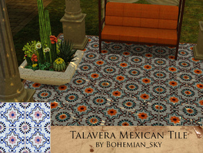 Sims 3 — Hand Painted Talavera Mexican Tile by Bohemian_sky — Hand painted Mexican tile pattern with recolourable