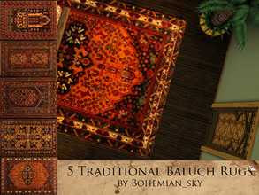 Sims 3 — Baluch Traditional Rugs by Bohemian_sky — 5 Traditional Persian Baluch rugs (4x3) with rustic charm. The various