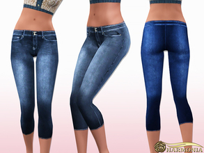 Sims 3 — Mid Rise Capri Stretch Jeans by Harmonia — 4 colors. Recolorable