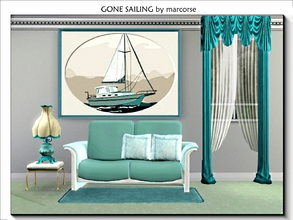 Sims 3 — Gone Sailing_marcorse by marcorse — Small sail boat in an oval matte and framed in deep sea blue . Mesh created