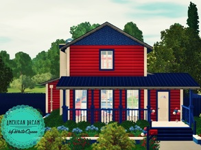 Sims 3 — WQ American Dream by whitequeen13 — House inspired in American patriotism with a bedroom, a bathroom, living