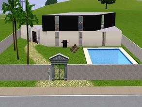 Sims 3 — Black and white by AnaLunaM — This lot contains a two-story house, one white and the other black. It also