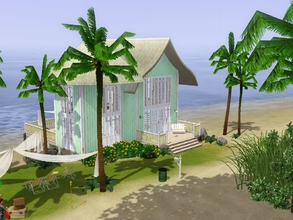 Sims 3 — Green Beach House by pilotus — Simple beach house with two bedrooms, two bathrooms, fully equipped kitchen,