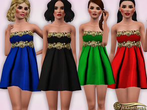 Sims 3 — Babydoll Dress With Baroque Rose Applique by Harmonia — Custom Mesh By Harmonia 5 colors. Recolorable
