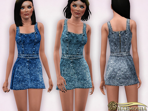Sims 3 — Worn-in Wash Mini Denim Dress by Harmonia — Custom Mesh By Harmonia 4 Variations. Recolorable