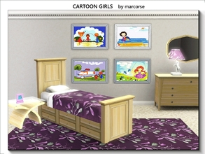 Sims 3 — Cartoon Girls_marcorse by marcorse — Four little paintings in cartoon style for a youmg Sim miss. Large enough