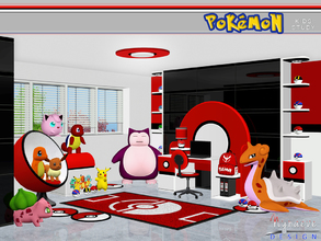 Sims 3 — Pokemon Kids Study by NynaeveDesign — Motivate sim kids to learn with this Pokemon themed study. Set includes: