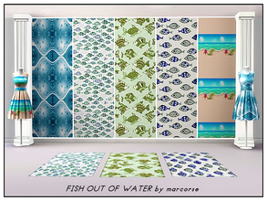 Sims 3 — Fish Out of Water_marcorse by marcorse — Five collected patterns with a fishy ambience. All are found in themed,