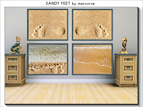 Sims 3 — Sandy Feet_marcorse by marcorse — Four paintings of a sequence of events on a sandy beach . . footprints to and