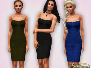 Sims 3 — Sculpt Figure Strapless Bodycon Dress by Harmonia — Mesh By Harmonia Recolorable 4 color