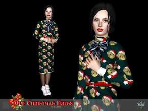 Sims 3 — Old Christmas dress by Shushilda2 — Warm knitted dress for the holiday - New mesh - 4 recolourable channels - 6