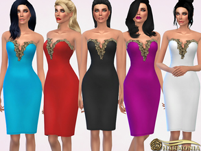 Sims 4 — Gold Metallic Applique Midi Dress by Harmonia — Bandeau midi bodycon dress with a sweetheart neckline featuring
