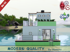 Sims 3 — Houseboat Modern Quality by Thamira — A small modern houseboat in fresh colors. With lower floor it has 3 floors