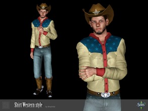Sims 3 — Shirt Western style by Shushilda2 — Set clothing for cowboys from the Wild West Shirt: - new mesh - 3