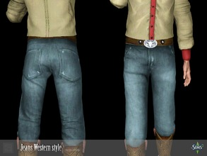 Sims 3 — Jeans Western style by Shushilda2 — Set clothing for cowboys from the Wild West Jeans: - new mesh - 4