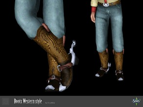 Sims 3 — Boots Western style by Shushilda2 — Set clothing for cowboys from the Wild West Boots: - new mesh (conversion) -