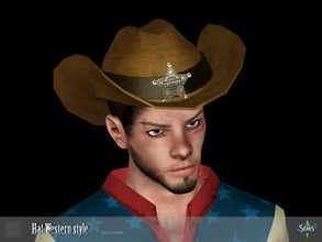 Sims 3 — Sheriff hat Western style by Shushilda2 — Set clothing for cowboys from the Wild West Hat: - new mesh - 2