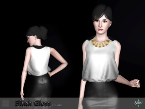 Sims 3 — Top black gloss by Shushilda2 — Elegant set on the basis of imitation leather and satin Top: - New mesh - 1