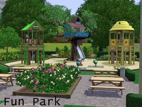 Sims 3 — Fun Park by tibisous — Nice park for kids with several playsets, swingsets, bouncy rides, a treehouse and more.