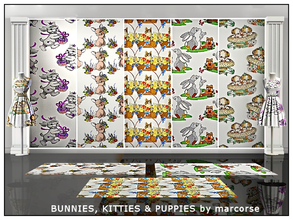 Sims 3 — Bunnies, Kitties & Puppies_marcorse. by marcorse — Five selected patterns for the nursery featuring rabbits,