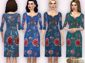 Sims 4 — Western-Inspired Embroidery Denim Dress by Harmonia — Western-inspired floral embroidery and a bead-embellished