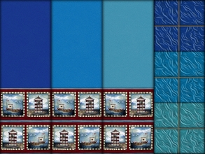 Sims 2 — Interior Ideas-Ocean Blue Set by allison731 — Set with three blue walls and floors with nautical theme.Walls