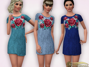 Sims 3 — Denim Embroidered T-shirt Dress by Harmonia — 5 color. Recolorable Please do not use my textures. Please do not