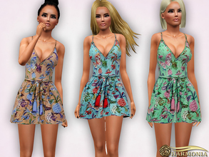 Sims 3 — Strappy Floral Skater Dress by Harmonia — 3 color-not recolorable Mesh By Harmonia