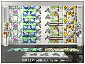Sims 3 — Nursery Animals_marcorse by marcorse — Five Themed patterns featuring animal designs for the nursery or small