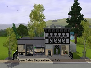 Sims 3 — Beanz Coffee Shop and Internet Cafe by Jujubee77 — This java hut is perfect for any hipster Sim. The best