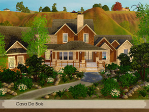 Sims 3 — Casa De Bois by timi722 — Wooden house with a small pond and swimming pool. Comfortabe home for a medium or big